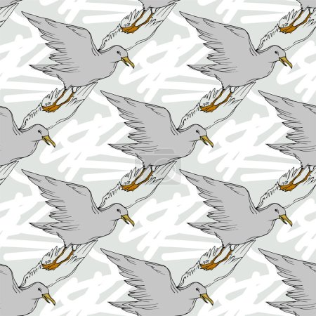 Illustration for Vector Sky bird seagull in a wildlife isolated. Wild freedom, bird with a flying wings. Black and white engraved ink art. Seamless background pattern. Fabric wallpaper print texture. - Royalty Free Image