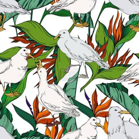 Ilustración de Molino de ave Vector Sky en una vida silvestre. Arte de tinta grabada en blanco y negro. Modelo de fondo sin costuras. Fabric wallpaper imprime textura sobre fondo blanco. - Imagen libre de derechos