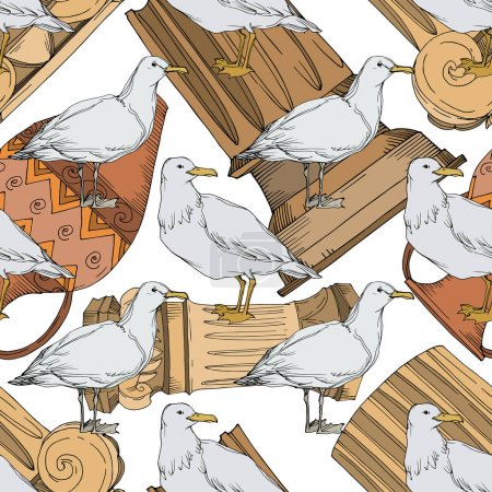 Illustration for Vector Sky bird seagull in a wildlife. Black and white engraved ink art. Seamless background pattern. Fabric wallpaper print texture on white background. - Royalty Free Image