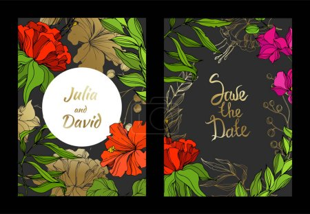 Illustration for Vector Tropical floral botanical flower. Engraved ink art. Wedding background card floral decorative border. Thank you, rsvp, invitation elegant card illustration graphic set banner. - Royalty Free Image