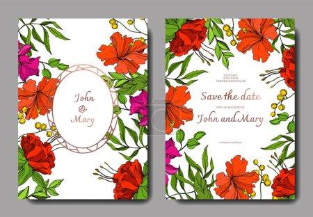 Illustration for Vector Tropical floral botanical flower. Engraved ink art. Wedding background card floral decorative border. Thank you, rsvp, invitation elegant card illustration graphic set banner. - Royalty Free Image