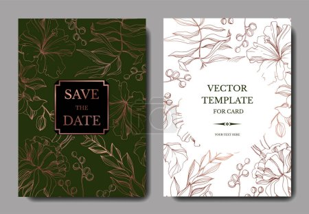 Illustration pour Vector Tropical floral botanical flower. Engraved ink art. Wedding background card floral decorative border. Thank you, rsvp, invitation elegant card illustration graphic set banner. - image libre de droit