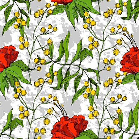 Illustration for Vector Tropical floral botanical flower. Exotic tropical hawaiian summer. Engraved ink art. Seamless background pattern. Fabric wallpaper print texture. - Royalty Free Image