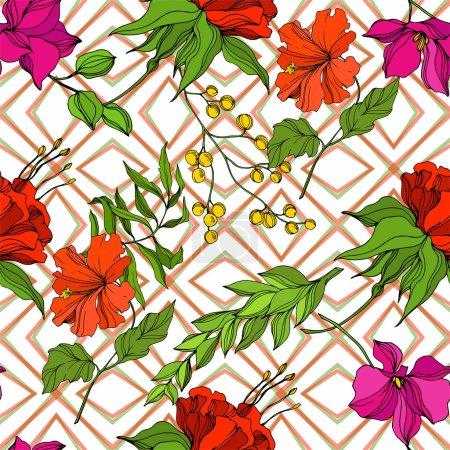 Ilustración de Vector Tropical floral floral flor botánica. Exótico verano tropical hawaiano. Arte de tinta grabada. Modelo de fondo sin costuras. Fabric wallpaper imprime textura. - Imagen libre de derechos