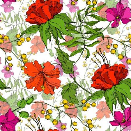 Illustration pour Vector Fleur florale tropicale. Été hawaïen tropical exotique. Encre gravée art. Schéma de fond homogène. Texture des papiers peints en tissu. - image libre de droit