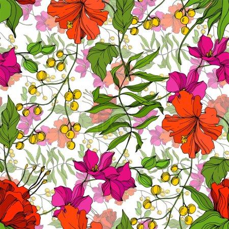 Illustration pour Vector Fleur botanique florale tropicale. Été hawaïen tropical exotique. Encre gravée. Modèle de fond sans couture. Texture d'impression papier peint tissu . - image libre de droit