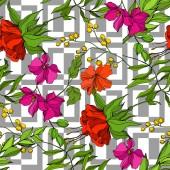 Vector Tropical floral botanical flower Engraved ink art Seamless background pattern Fabric wallpaper print texture