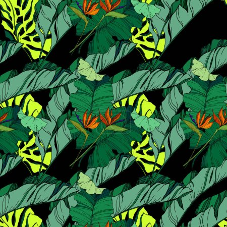 Illustration for Vector Tropical floral botanical flowers. Wild spring leaf wildflower isolated. Black and white engraved ink art. Seamless background pattern. Fabric wallpaper print texture. - Royalty Free Image
