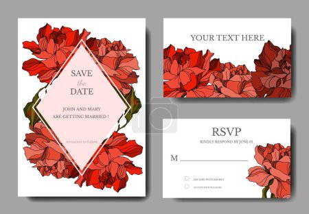 Illustration for Vector Rose floral botanical flowers. Black and white engraved ink art. Wedding background card decorative border. Thank you, rsvp, invitation elegant card illustration graphic set banner. - Royalty Free Image