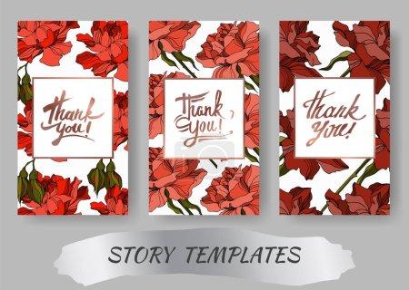 Illustration for Vector Rose floral botanical flowers. Black and white engraved ink art. Wedding background card decorative border. Thank you, rsvp, invitation elegant card illustration graphic set banner. - Royalty Free Image