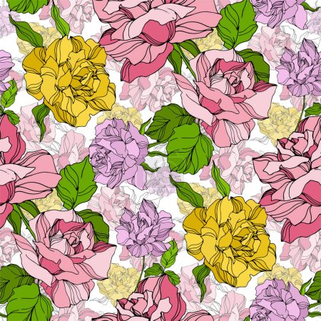 Illustration for Vector Rose floral botanical flowers. Wild spring leaf wildflower isolated. Engraved ink art. Seamless background pattern. Fabric wallpaper print texture. - Royalty Free Image