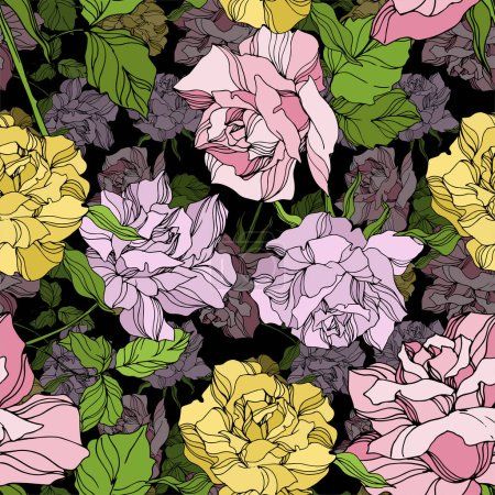 Illustration pour Vector Rose floral botanical flowers. Wild spring leaf wildflower isolated. Engraved ink art. Seamless background pattern. Fabric wallpaper print texture. - image libre de droit