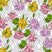 Vector Rose floral botanical flowers Wild spring leaf wildflower Engraved ink art Seamless background pattern