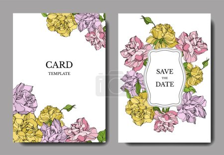 Illustration for Vector Rose floral botanical flowers. Engraved ink art. Wedding background card floral decorative border. Thank you, rsvp, invitation elegant card illustration graphic set banner. - Royalty Free Image