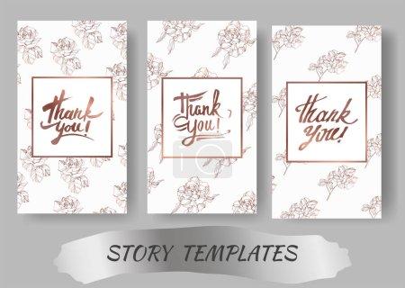 Illustration for Vector Rose floral botanical flowers. Engraved ink art. Wedding background card floral decorative border. Thank you, rsvp, invitation elegant card illustration graphic set banner. - Royalty Free Image