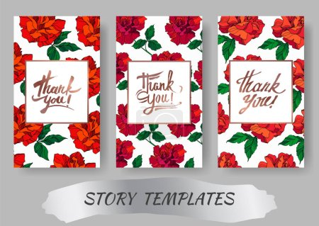 Illustration for Vector Rose floral botanical flowers. Red and green engraved ink art. Wedding background card floral decorative border. Thank you, rsvp, invitation elegant card illustration graphic set banner. - Royalty Free Image