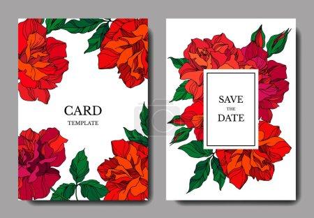 Vector Rose floral botanical flowers. Red and green engraved ink art. Wedding background card floral decorative border.