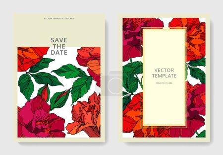 Illustration for Vector Rose floral botanical flowers. Red and green engraved ink art. Wedding background card floral decorative border. Thank you, rsvp, invitation elegant card illustration graphic set banner. - Royalty Free Image