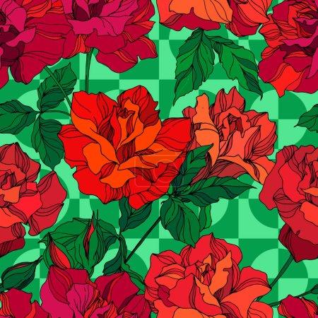Ilustración de Vector Rose flores florales botánicas. Flora silvestre de manantial silvestre aislada. Arte de tinta verde y roja grabada. Modelo de fondo sin costuras. Fabric wallpaper imprime textura. - Imagen libre de derechos