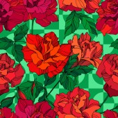 Vector Rose floral botanical flowers Green and red engraved ink art Seamless background pattern
