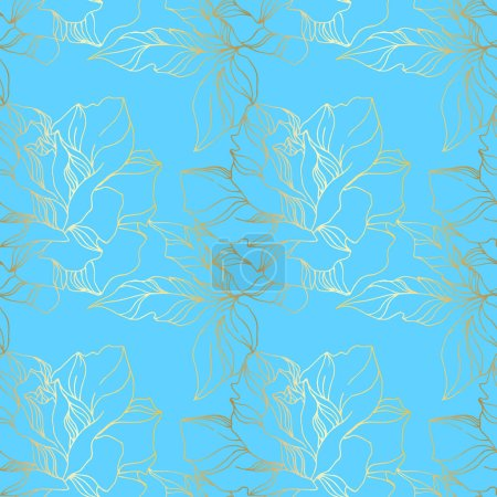 Illustration for Vector Rose floral botanical flowers. Wild spring leaf wildflower isolated. Blue and gold engraved ink art. Seamless background pattern. Fabric wallpaper print texture. - Royalty Free Image