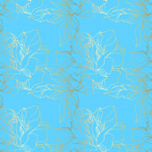 Vector Rose floral botanical flowers Blue and gold engraved ink art Seamless background pattern