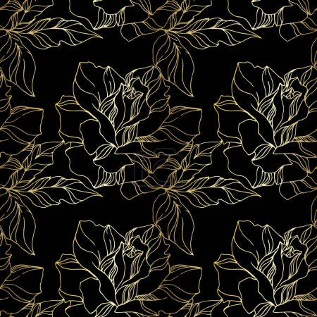 Illustration for Vector Rose floral botanical flowers. Wild spring leaf wildflower isolated. Black and gold engraved ink art. Seamless background pattern. Fabric wallpaper print texture. - Royalty Free Image