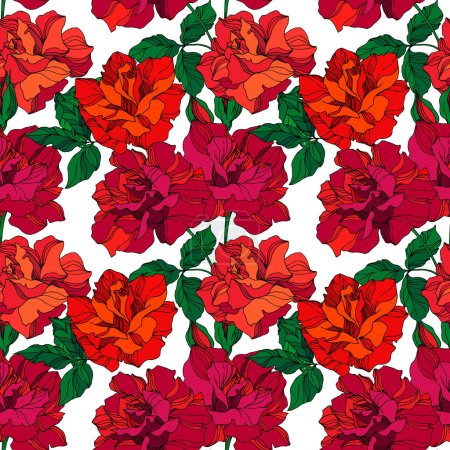 Illustration for Vector Rose floral botanical flowers. Wild spring leaf wildflower isolated. Green and red engraved ink art. Seamless background pattern. Fabric wallpaper print texture. - Royalty Free Image