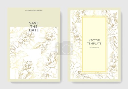 Illustration for Vector Rose floral botanical flowers. Golden engraved ink art. Wedding background card floral decorative border. Thank you, rsvp, invitation elegant card illustration graphic set banner. - Royalty Free Image