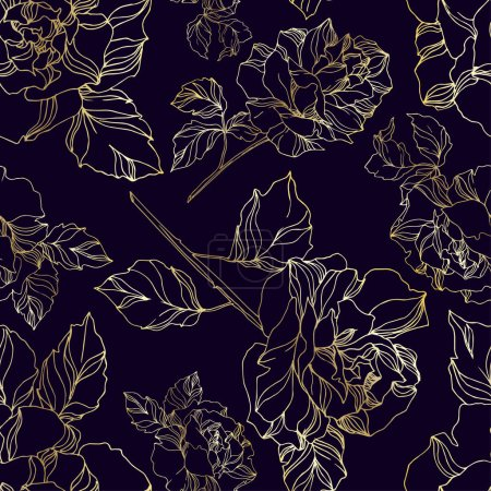 Illustration for Vector Roses floral botanical flowers. Wild spring leaf wildflower isolated. Black and white engraved ink art. Seamless background pattern. Fabric wallpaper print texture. - Royalty Free Image
