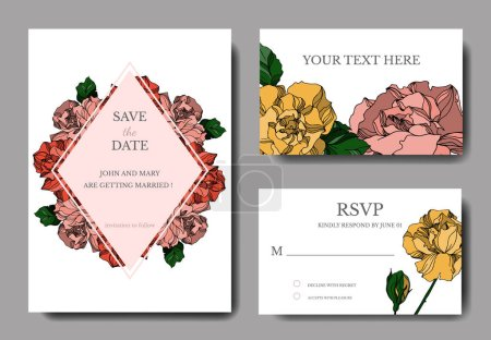 Illustration for Vector Roses floral botanical flowers. Black and white engraved ink art. Wedding background card decorative border. Thank you, rsvp, invitation elegant card illustration graphic set banner. - Royalty Free Image