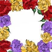 Vector rose floral botanical flowers Black and white engraved ink art Frame border ornament square