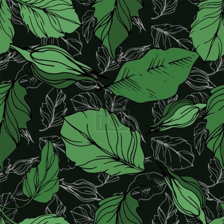 Illustration for Vector rose floral botanical flowers. Wild spring leaf wildflower isolated. Black and white engraved ink art. Seamless background pattern. Fabric wallpaper print texture. - Royalty Free Image
