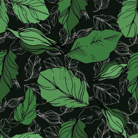 Illustration pour Fleurs botaniques florales vectorielles roses. Feuille sauvage de printemps fleur sauvage isolée. Encre gravée en noir et blanc. Modèle de fond sans couture. Texture d'impression papier peint tissu . - image libre de droit