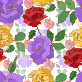 Vector rose floral botanical flowers Black and white engraved ink art Seamless background pattern
