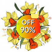 Vector Sale tags set Engraved ink art Isolated percent sticker illustration Narcissus floral botanical flower