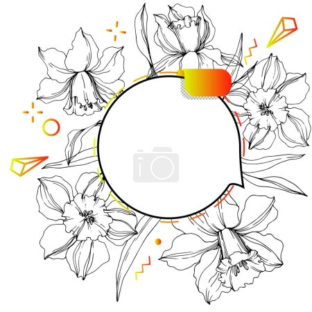 Illustration for Vector Label tags set. Floral badge for text. Engraved ink art. Isolated sticker illustration element. Narcissus floral botanical flower. - Royalty Free Image