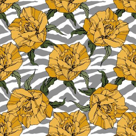 Illustration pour Vector Exotic Zebra imprimé de fleurs botaniques florales. Encre gravée en noir et blanc. Modèle de fond sans couture. Texture d'impression papier peint tissu . - image libre de droit