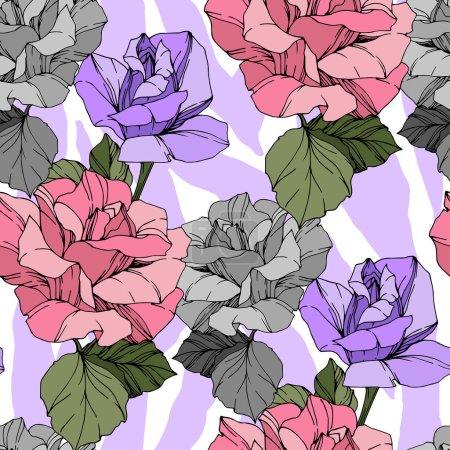 Ilustración de Imprenta de cebra exótica vectorial con flores botánicas florales. Arte de tinta grabada en blanco y negro. Modelo de fondo sin costuras. Fabric wallpaper imprime textura. - Imagen libre de derechos
