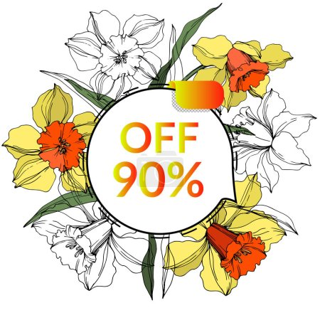 Illustration for Vector Sale tags set. Discount price offer, banner and promotion badge. Engraved ink art. Isolated percent sticker illustration element. Narcissus floral botanical flower. - Royalty Free Image