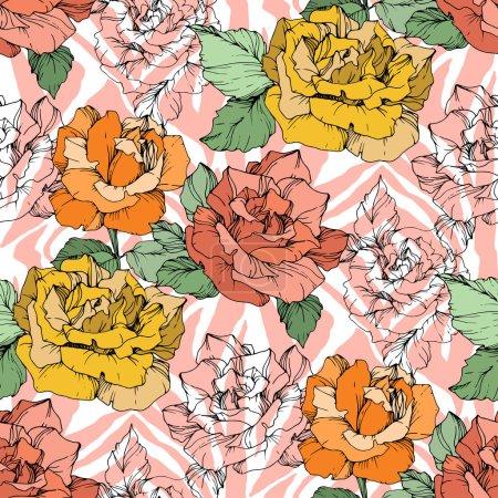 Illustration pour Vector Exotic Zebra print with floral botanical flowers. Encre noire et blanche gravée. Schéma de fond homogène. Texture des papiers peints en tissu. - image libre de droit