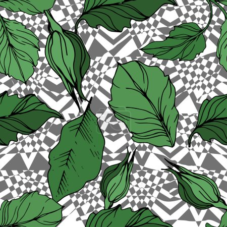 Illustration pour Vector Exotic Zebra print with floral botanical flowers. Black and white engraved ink art. Seamless background pattern. Fabric wallpaper print texture. - image libre de droit