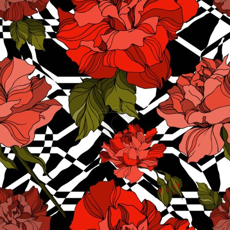 Illustration for Vector Exotic Zebra print with floral botanical flowers. Black and white engraved ink art. Seamless background pattern. Fabric wallpaper print texture. - Royalty Free Image