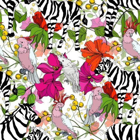 Illustration for Vector Exotic zebra print wild animal isolated. Black and white engraved ink art. Seamless background pattern. Fabric wallpaper print texture. - Royalty Free Image