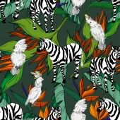 Vector Exotic zebra print wild animal isolated Black and white engraved ink art Seamless background pattern