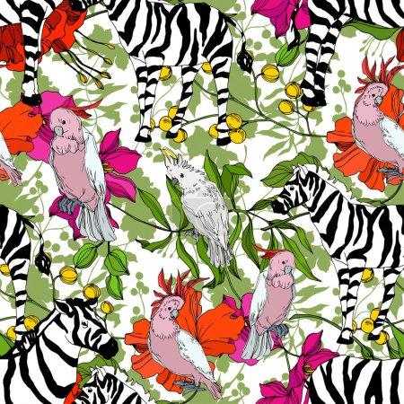 Illustration pour Vector Exotic zebra print animal sauvage isolée. Encre noire et blanche gravée. Schéma de fond homogène. Texture des papiers peints en tissu. - image libre de droit