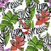 "Постер, картина, фотообои ""Vector Exotic zebra print wild animal isolated. Black and white engraved ink art. Seamless background pattern."""