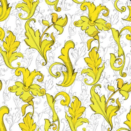 Illustration for Vector Gold monogram floral ornament. Baroque design isolated elements. Black and white engraved ink art. Seamless background pattern. Fabric wallpaper print texture. - Royalty Free Image