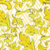 Vector Gold monogram floral ornament Black and white engraved ink art Seamless background pattern