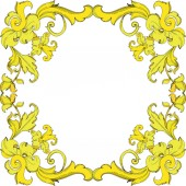 Vector Gold monogram floral ornament Black and white engraved ink art Frame border ornament square